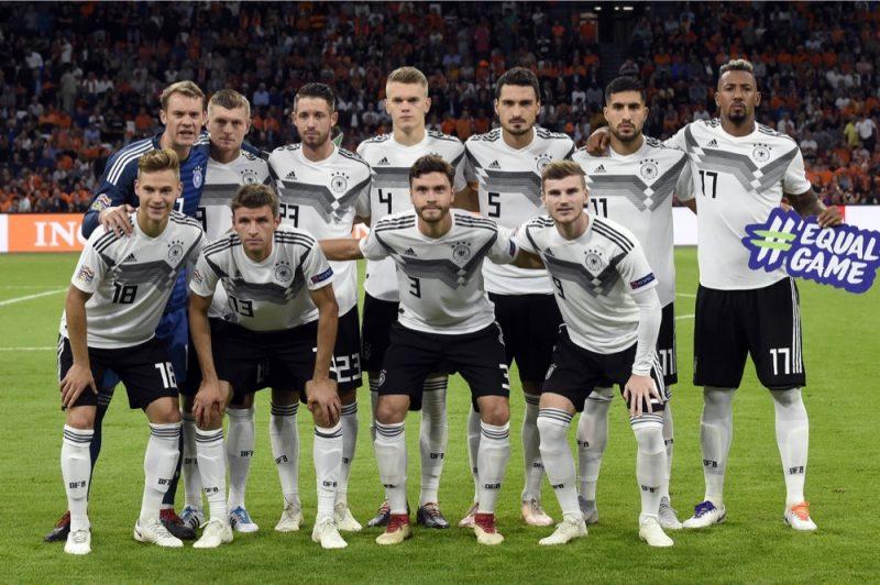 Die deutsche Startaufstellung gegen die Niederlande in der Nations League am 2.Spieltag - Deutschland verliert mit 0:3 am 13 Oktober 2018 in der Johan Crujiff ArenA in Amsterdam. (Photo by JOHN THYS / AFP)