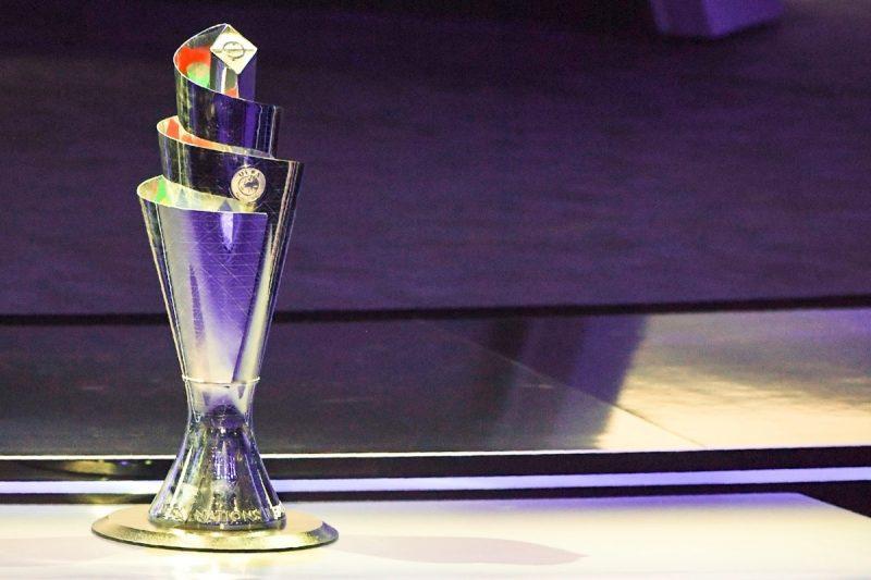 Der Pokal der UEFA Nations League wurde bei der Auslosung in Lausanne, am 24.Januar 2018 präsentiert. Der Sieger der Nations League wird im Juni 2019 ausgespielt. / AFP PHOTO / Philippe DESMAZES